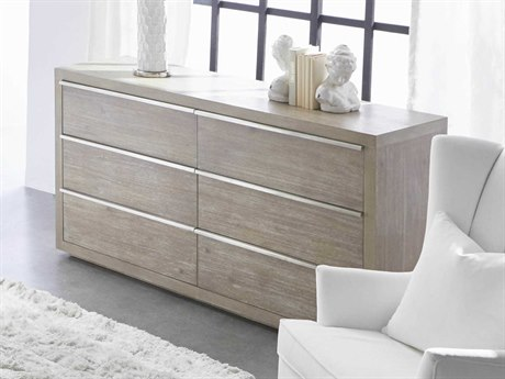 Essentials for Living Traditions Natural Gray, Brushed Stainless Steel Six-Drawer Double Dresser