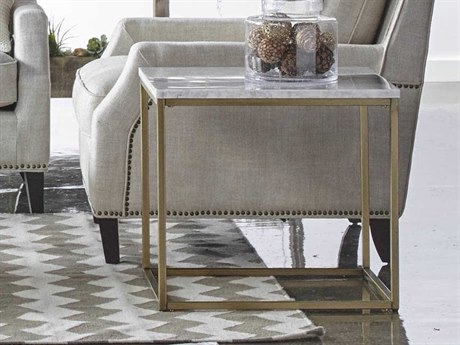 Essentials for Living Traditions Brushed Gold, White 25'' Wide Square End Table ESL6101BGLDWHT