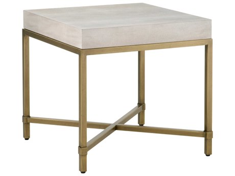 Essentials for Living Traditions White Shagreen, Brushed Gold 24'' Wide Square End Table ESL6118WHTSHGGLD