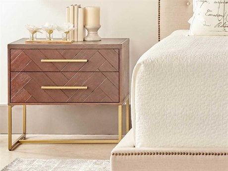 Essentials for Living Traditions Rustic Java & Brushed Gold Two-Drawer Nightstand