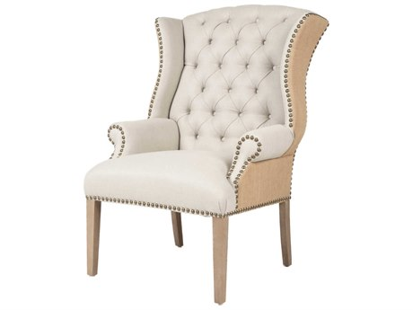 Essentials for Living Villa Oatmeal Front, Burlap Back / Stone Wash Accent Chair