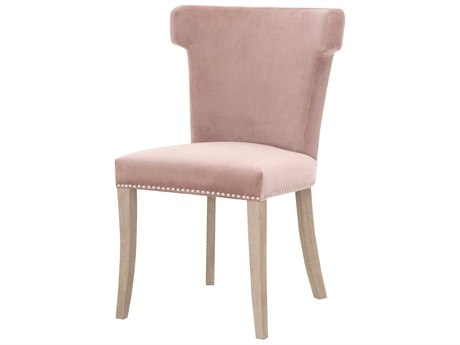 Essentials for Living Villa Dusty Rose Velvet / Natural Gray Side Dining Chair ESL7094DROSBSLNG