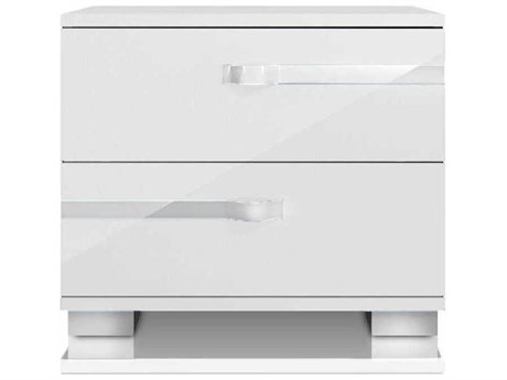 Essential For Living Vivente White High Gloss 2 Drawers Nightstand