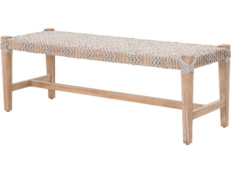 Essentials for Living Woven Taupe & White / Natural Gray Accent Bench