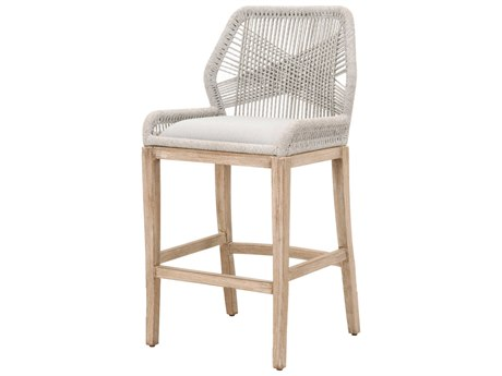 Essentials for Living Woven Taupe & White, Pumice / Natural Gray Side Bar Height Stool
