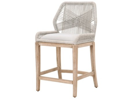 Essentials for Living Woven Taupe & White, Pumice / Natural Gray Side Counter Height Stool