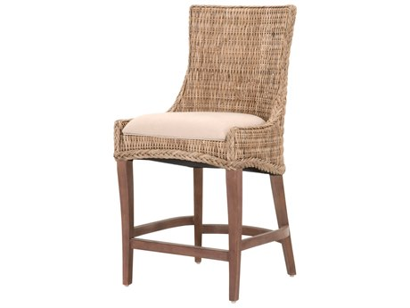 Essentials for Living Woven Light Gray / Grey Kubu, Saddle Brown Side Counter Height Stool (Set of 2)