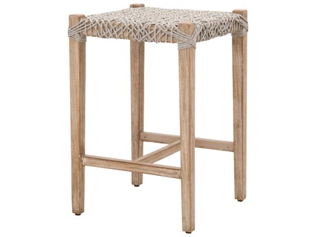 Essentials for Living Woven Taupe & White / Natural Gray Side Counter Height Stool