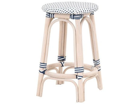 Essentials for Living Woven White Wash, Denim, Side Counter Height Stool