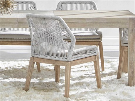 Essentials for Living Woven Taupe & White, Pumice / Natural Gray Side Dining Chair (Set of 2)