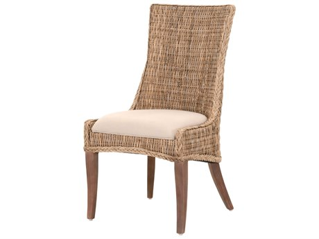 Essentials for Living Woven Light Gray / Grey Kubu, Saddle Brown Side Dining Chair (Set of 2)