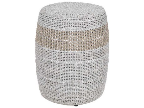 Essentials for Living Woven Taupe & White 16'' Wide Round Drum Table ESL6818WTA