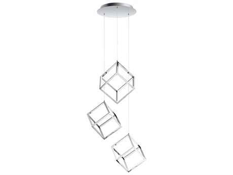 ET2 4 Square Polished Chrome 11'' Wide LED Mini Pendants ET2E30587PC
