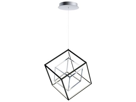 ET2 4 Square Black / Polished Chrome 20'' Wide LED Pendant ET2E30584BKPC