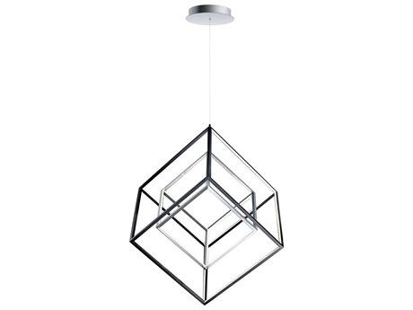 ET2 4 Square Black / Polished Chrome 30'' Wide LED Pendant ET2E30586BKPC
