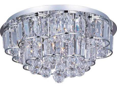 ET2 Bangle Polished Chrome & Crystal Glass 12-Light 18'' Wide Flush Mount Light ET2E2325720PC