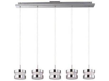ET2 Disco Polished Chrome & White Glass Five-Light 38.5'' Long LED Island Light ET2E2268501PC
