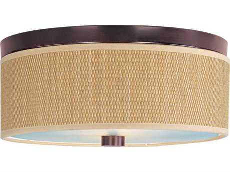 ET2 Elements Oil Rubbed Bronze & Grass Cloth Two-Light 14'' Wide Incandescent Flush Mount Light ET2E95002101OI
