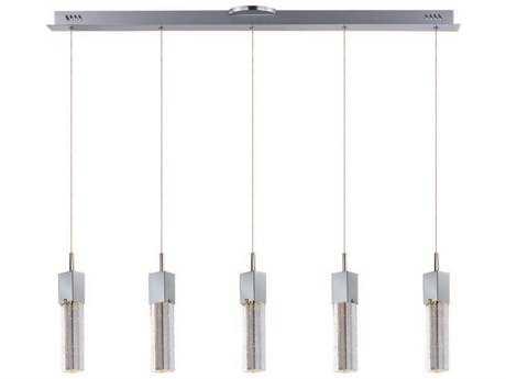 ET2 Fizz III Polished Chrome & Etched-Bubble Glass Five-Light 39'' Long LED Island Light ET2E2276489PC