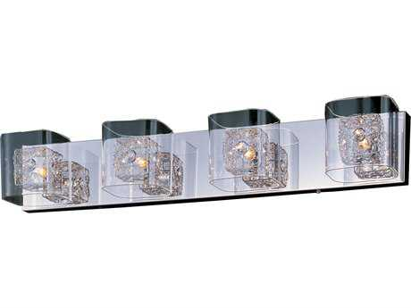 ET2 Lighting Gem Polished Chrome Clear Glass Four-Light Xenon Vanity Light with Polished Chrome Shade ET2E2283418PCPC