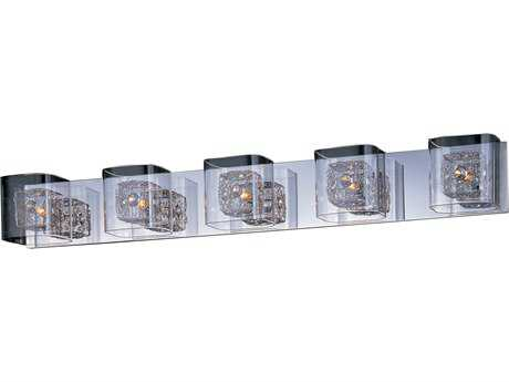 ET2 Lighting Gem Polished Chrome Clear Glass Five-Light Xenon Vanity Light with Polished Chrome Shade ET2E2283518PCPC