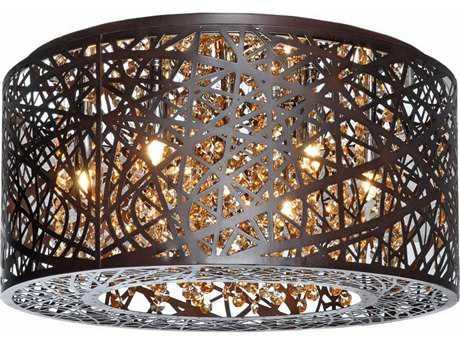 ET2 Inca Bronze Seven-Light 16'' Wide Xenon Flush Mount Light (Bulb Not Included) ET2E2130010BZ