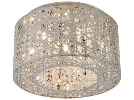 ET2 Inca Polished Chrome Seven-Light 16'' Wide LED Flush Mount Light (Bulb Included) ET2E2130010PCBUL