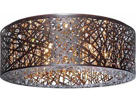 ET2 Inca Bronze Nine-Light 23.5'' Wide LED Flush Mount Light (Bulb Included) ET2E2130110BZBUL