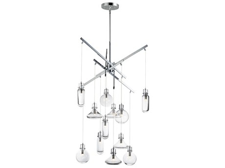 ET2 Kem Polished Chrome 12-Light 29'' Wide Pendant Light ET2E2431218PC