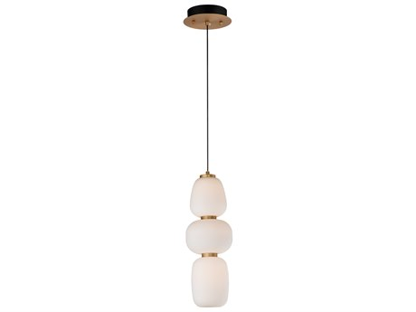 ET2 Soji Black / Gold 1-light 6'' Wide Glass LED Mini Pendants ET2E2506792BKGLD