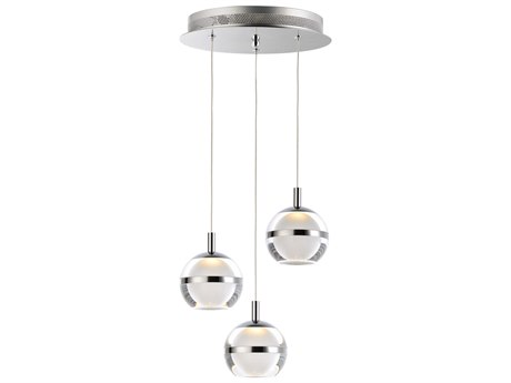 ET2 Swank Polished Chrome Three-Light 12'' Wide LED Mini-Pendant Light ET2E2459393PC