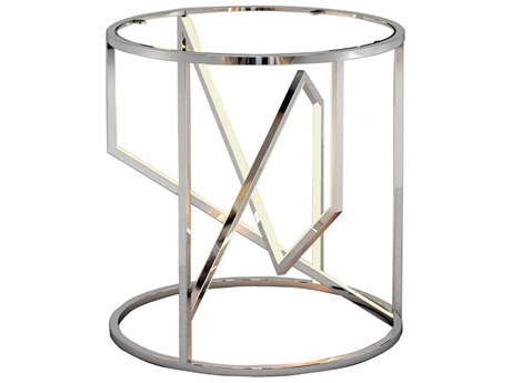 ET2 Trapezoid Polished Chrome 19'' Wide Round End Table