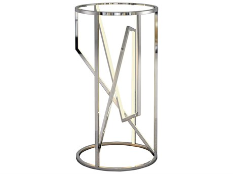 ET2 Trapezoid Polished Chrome 15'' Wide Round End Table