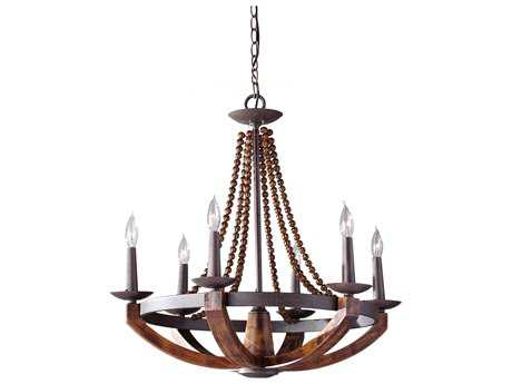 Feiss Adan Rustic Iron & Burnished Wood Medium Chandelier FEIF27496RIBWD