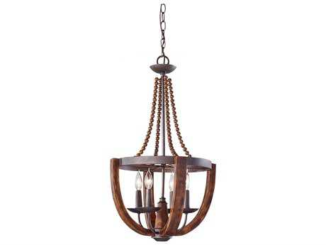 Feiss Adan Rustic Iron & Burnished Wood Medium Chandelier FEIF27534RIBWD