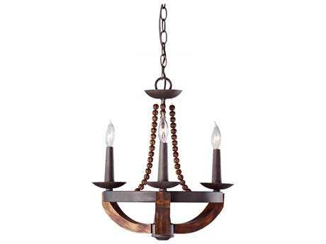 Feiss Adan Rustic Iron & Burnished Wood Mini Chandelier FEIF27503RIBWD