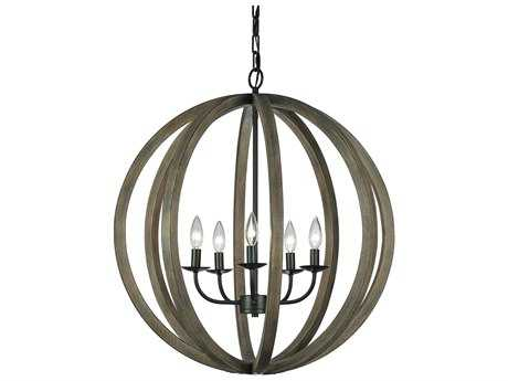 Feiss Allier Weathered Oak Wood & Antique Forged Iron 26'' Wide Five-Light Chandelier FEIF29365WOWAF