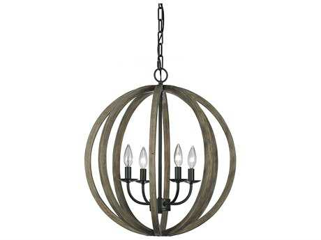 Feiss Allier Weathered Oak Wood & Antique Forged Iron 21'' Wide Four-Light Mini Chandelier FEIF29354WOWAF