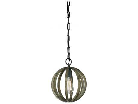 Feiss Allier Weather Oak Wood / Antique Forged Iron 10'' Wide Edison Bulb Mini-Pendant FEIP1302WOWAF