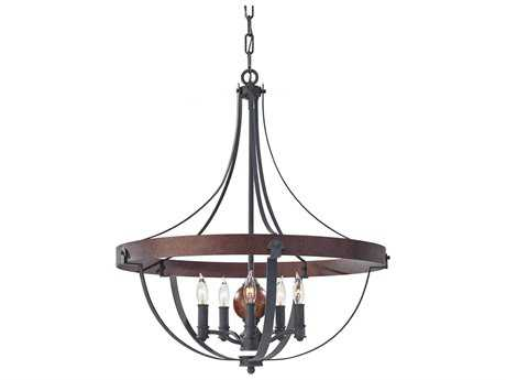 Feiss Alston Antique Forged, Charcoal Brick & Acorn Medium Chandelier FEIF27945AFCBA