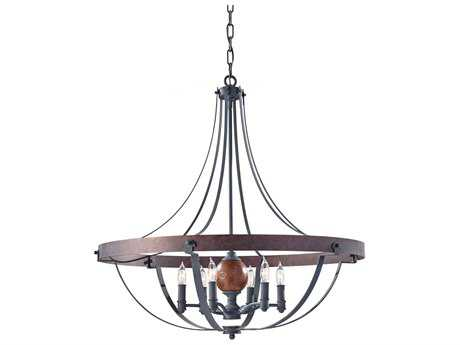 Feiss Alston Antique Forged, Charcoal Brick & Acorn Medium Chandelier FEIF27966AFCBA
