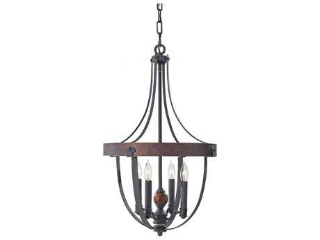 Feiss Alston Antique Forged, Charcoal Brick & Acorn Medium Chandelier FEIF27984AFCBA