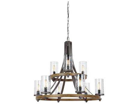 Feiss Angelo Distressed Weathered Oak / Slate Grey Metal Nine-Light 32.75'' Wide Edison Chandelier FEIF31359DWKSGM