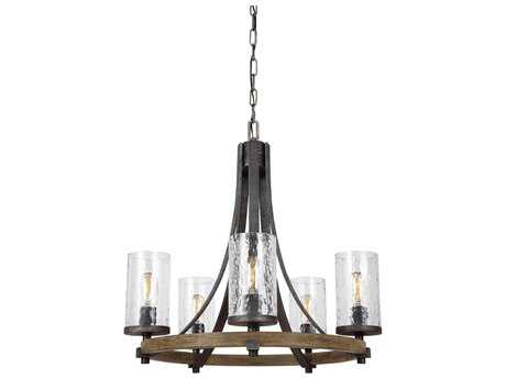 Feiss Angelo Distressed Weathered Oak / Slate Grey Metal Five-Light 24'' Wide Edison Mini-Chandelier FEIF31335DWKSGM