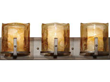 Feiss Aris Roman Bronze Three-Light 25'' Wide Vanity Light with Amber Alabaster Glass Shade FEIVS18903RBZ