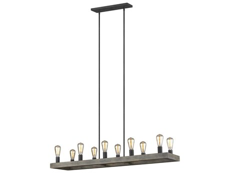 Feiss Avenir Weathered Oak Wood / Antique Forged Iron 50'' Wide Industrial Island Light FEIF393110WOWAF