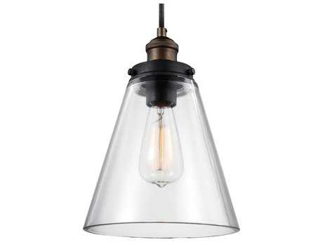Feiss Baskin Painted Aged Brass / Dark Weathered Zinc 8.5'' Wide Mini-Pendant with Clear Glass Shade FEIP1347PAGBDWZ
