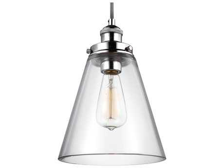 Feiss Baskin Polished Nickel 8.5'' Wide Mini-Pendant with Clear Glass Shade FEIP1347PN