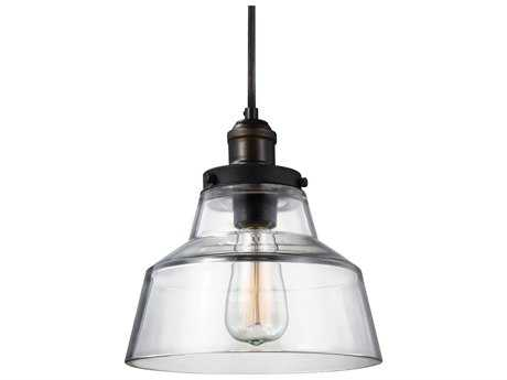 Feiss Baskin Painted Aged Brass / Dark Weathered Zinc 10'' Wide Mini-Pendant with Clear Glass Shade FEIP1348PAGBDWZ