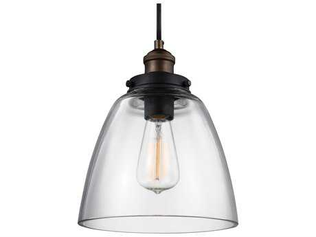 Feiss Baskin Painted Aged Brass / Dark Weathered Zinc 9'' Wide Mini-Pendant with Clear Glass Shade FEIP1349PAGBDWZ
